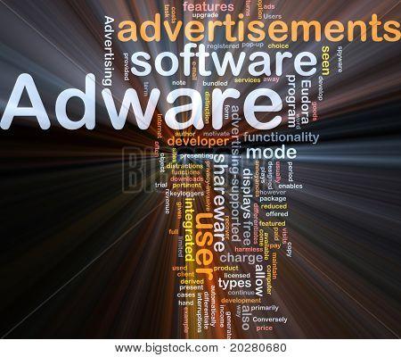 Hintergrund Konzept Wordcloud Abbildung von Adware glühende Licht