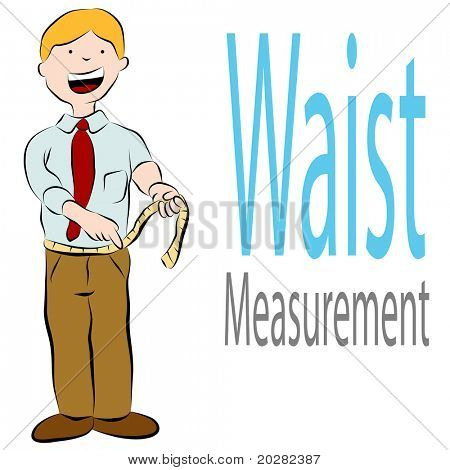 An image of a man measuring his waist with a tape measure.