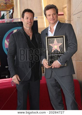 HOLLYWOOD - JAN 13:  Colin Firth & Guy Pearce actor Colin Firth receives star on walk of fame  on January 13, 2011 in Hollywood, CA