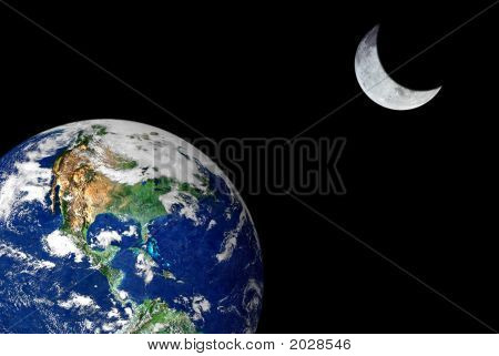 Earth And Crescent Moon