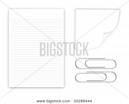 Set Of Blank Papers And Clips