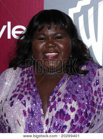 LOS ANGELES - JAN 16:  Gabourey Sidibe arrives to the 12th Annual WB-In Style Golden Globe After Party  on January 16, 2011 in Beverly Hills CA