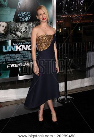 "LOS ANGELES - FEB 16:  January Jones arrives at the ""Unknown"" Los Angeles Premiere on February 16, 2011 in Westwood, CA"