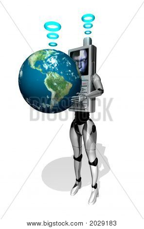 3D Cell Phone Robot With World