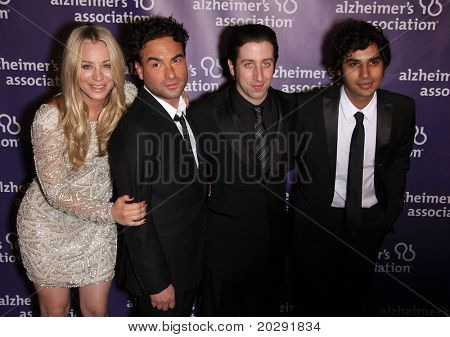 "LOS ANGELES - MAR 16:  Kaley Cuoco, Johnny Galecki, Simon Helberg & Kunal Nayyar arrive at the 19th Annual ""A Night at Sardi's"" Fundraiser & Awards on March 16, 2011 in Beverly Hills, CA"