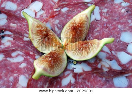 Platter Of Salami Slices With Figs