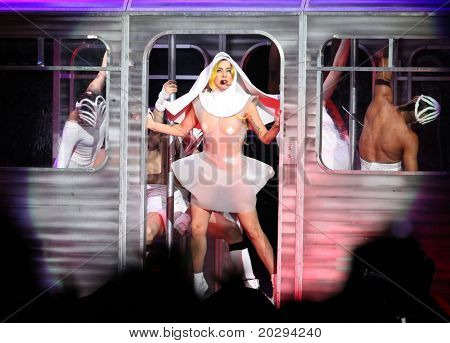 LOS ANGELES - MAR 28:  Lady Gaga Performs at Staples Center on March 28,2011 in Hollywood, CA