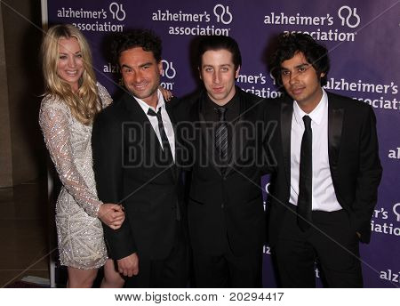 "LOS ANGELES - MAR 16:  Kaley Cuoco, Johnny Galecki, Simon Helberg & Nayyar arriving to 19th Annual 'A Night at Sardi's"" Fundraiser & Awards  on March 16, 2011 in Beverly Hills, CA"