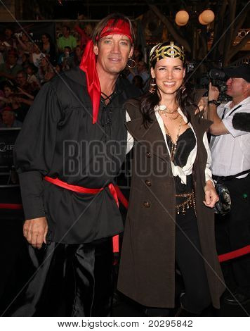 "LOS ANGELES - MAY 07:  Kevin Sorbo & Wife arrives to the ""Pirates of the Caribbean: On Stranger Tides"" World Premiere  on May 7, 2011 in Anaheim, CA"