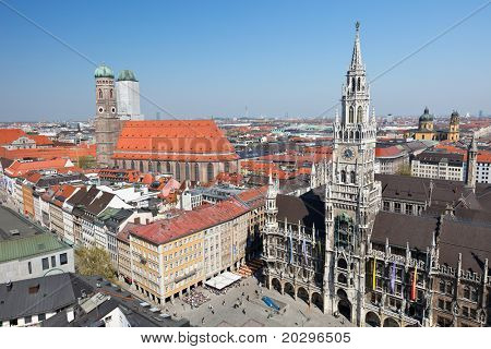 Historical center of Munich city: Marienplatz, New Town Hall and Frauenkirche