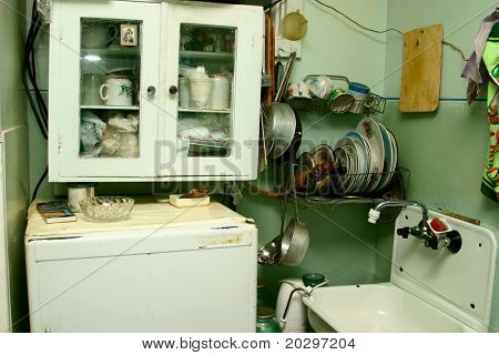 Not comfortable kitchen. Out-of-date, shabby, inconvenient concept