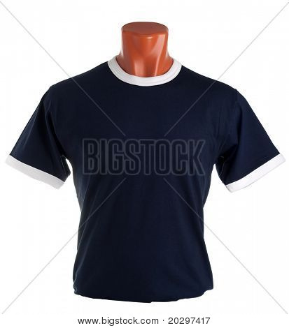 T-shirt on a mannequin isolated on white background. Front view, small folds, natural position.
