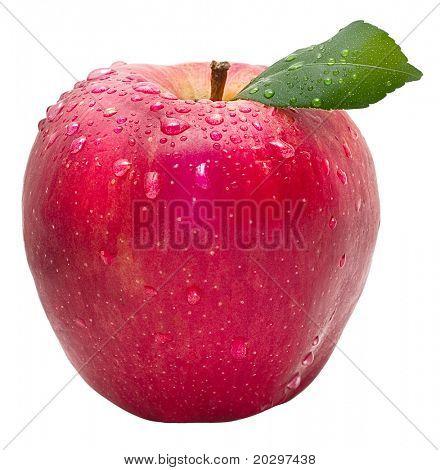 Manzana roja con gotas de agua y hoja verdes aislado sobre un fondo blanco