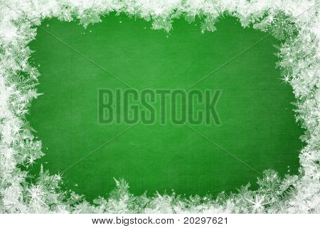 Winter frame of gleaming ice, in the center of the composition aged textured background