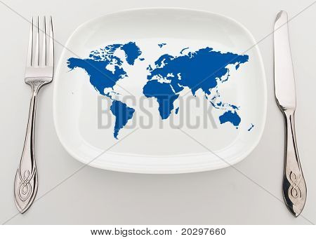 Concept: whole world on the plate. Superiority