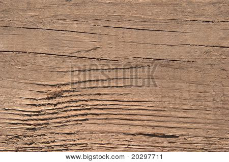 Texture of old wood. The hard side light reveals texture. One can see traces of rough handling and small cracks. Color of old noble wood. For any designer's use.