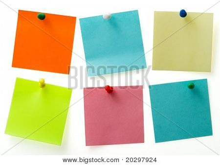 A different color post it notes with spins isolated with clipping path. Studio light. Natural shade.
