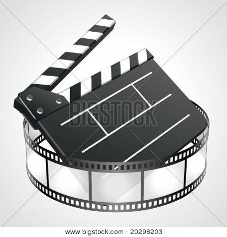 Film clap board cinema strip vector illustration. Eps 10.