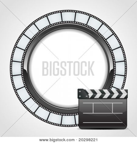Film round tape with cinema clap vector background. Eps 10.