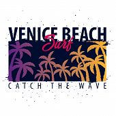 Venice Beach Surfing Graphic With Palms. T-shirt Design And Print. poster