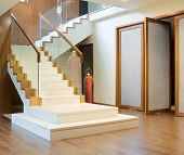 pic of bannister  - hall with stairway and front door - JPG