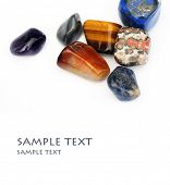 picture of lapis lazuli  - a collection of beautiful precious stones against white background - JPG