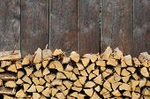 lovely background image featuring firewood against an olden wooden wall