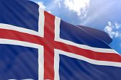 3D Rendering Of Iceland Flag Waving On Blue Sky Background poster