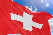 3D Rendering Of Switzerland Flag Waving On Blue Sky Background poster
