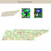pic of memphis tennessee  - USA states series: Tennessee. Political map with counties roads state