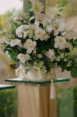 stock photo of flower arrangement  - wedding chapel - JPG