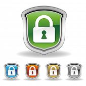 stock photo of lock  - vector shield and lock icon set - JPG