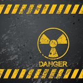 stock photo of nuclear bomb  - nuclear danger warning background - JPG