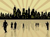 picture of city silhouette  - Stylized city with people silhouettes - JPG