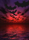 image of drakula  - Bats flying over the water - JPG