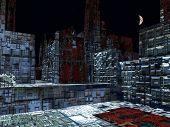 Alien City - fantasy urban structures 3d rendering poster