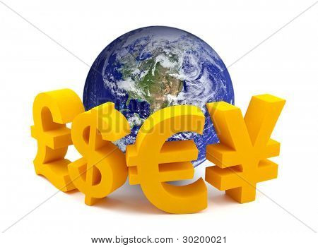 Globe with currency symbols