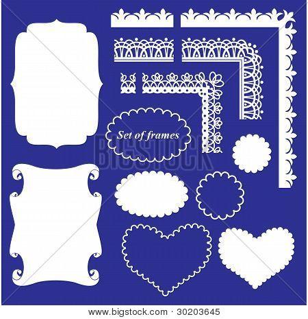 Rahmen Sie-Set verschiedene Frames und Grenzen auf blauem Hintergrund