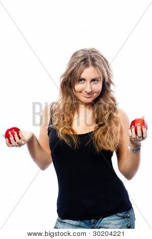 Girl Juggling With Red Apples