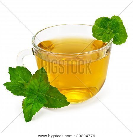 Herbal Tea In Glass Cup With Mint