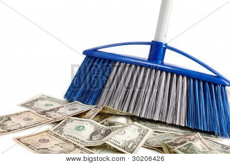dollar sweeper isolated on white , selective focus