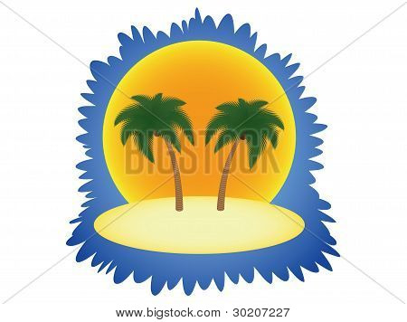 Island With Two Palm Trees