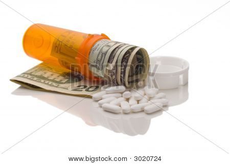 Spilled Expensive Pills From Medication Bottle