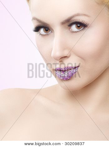 Attractive Girl With Crystal Lips