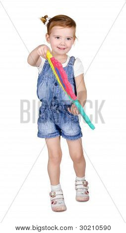 Portrait Of Little Girl Playing With Construction Blocks