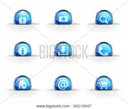 Set of nine glossy circular icons: locked, photo, search, info,download, phone, home, contact and cart icon.