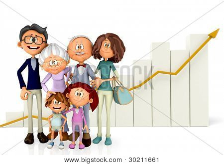 3D Family with a growth graph - isolated over a white background