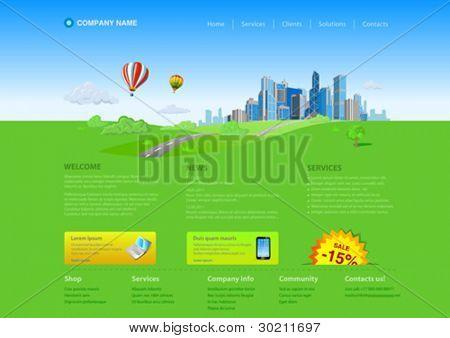 Website bewerkbaar sjabloon: Werkadres, plaats op groen gras horizon Uni thema's: businessconcept, realty