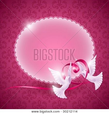 Vector background for design on the theme of love. Pigeons with a ribbon in the form of heart