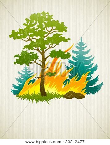 wildfire disaster with burning forest tree and firtrees vector illustration on the textured background EPS10. Transparent objects used for shadows and lights drawing